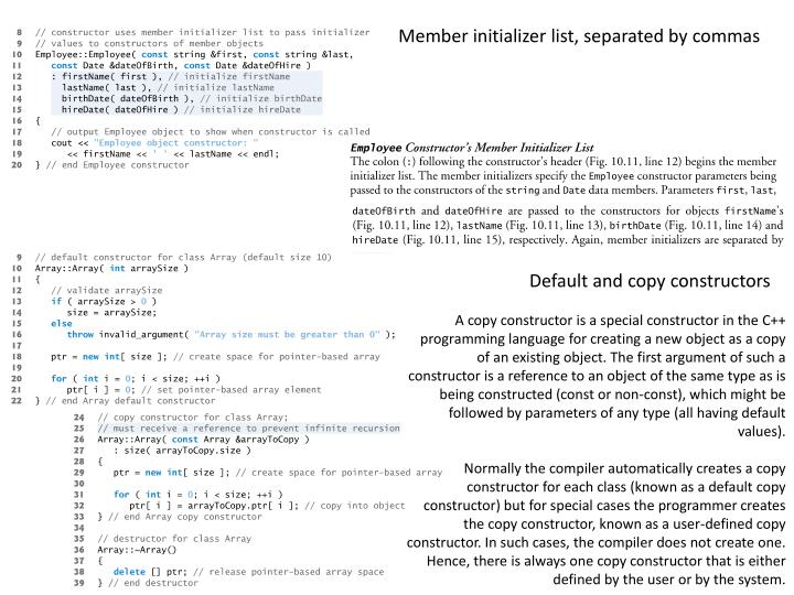 Member initializer list, separated by commas