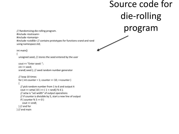Source code for die-rolling program