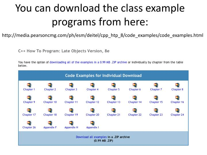 You can download the class example programs from here: