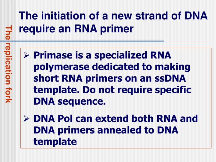 The initiation of a new strand of DNA require an RNA primer