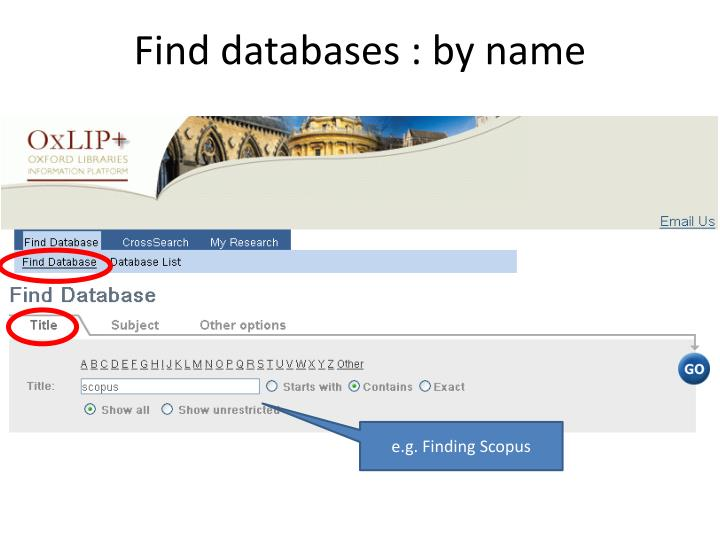 Find databases : by name