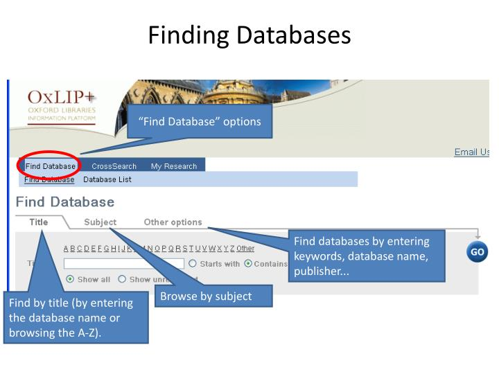 Finding Databases