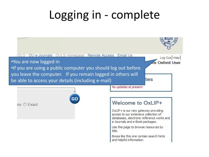 Logging in - complete