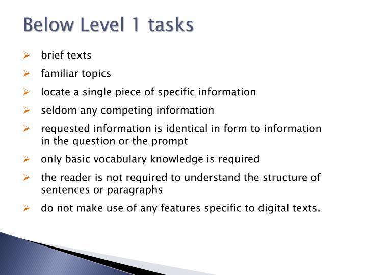 Below Level 1 tasks