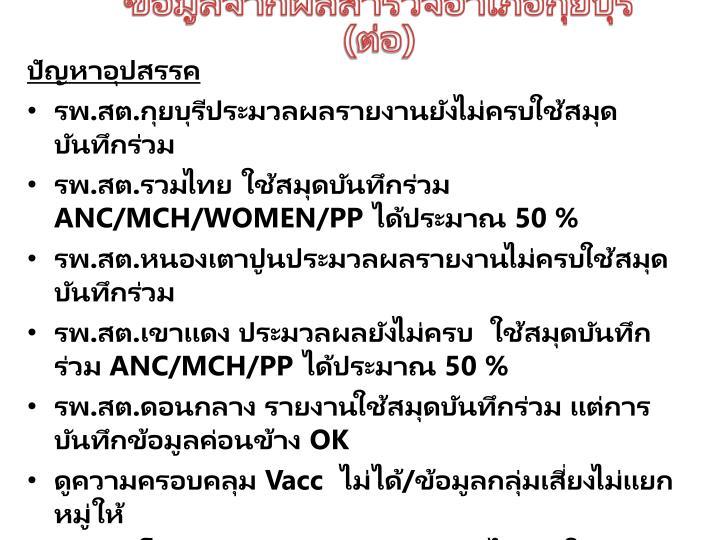 ข้อมูลจากผลสำรวจอำเภอกุยบุรี (ต่อ)