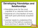 developing friendships and relationships