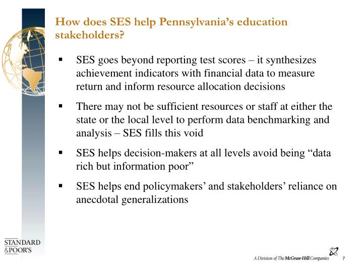 How does SES help Pennsylvania's education stakeholders?