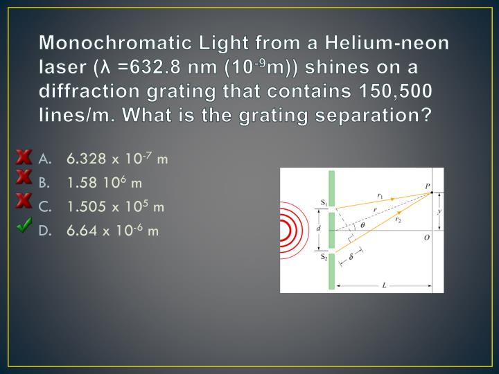 Monochromatic Light from a Helium-neon laser (