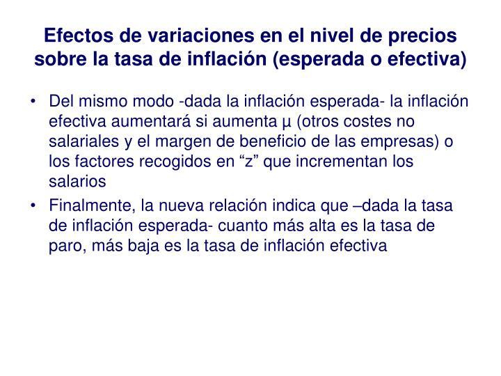 Efectos de variaciones en el nivel de precios sobre la tasa de inflación (esperada o efectiva)