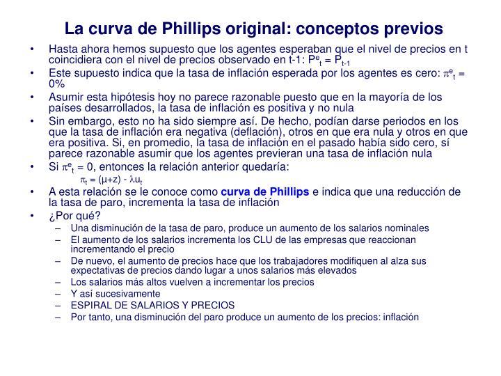 La curva de Phillips original: conceptos previos