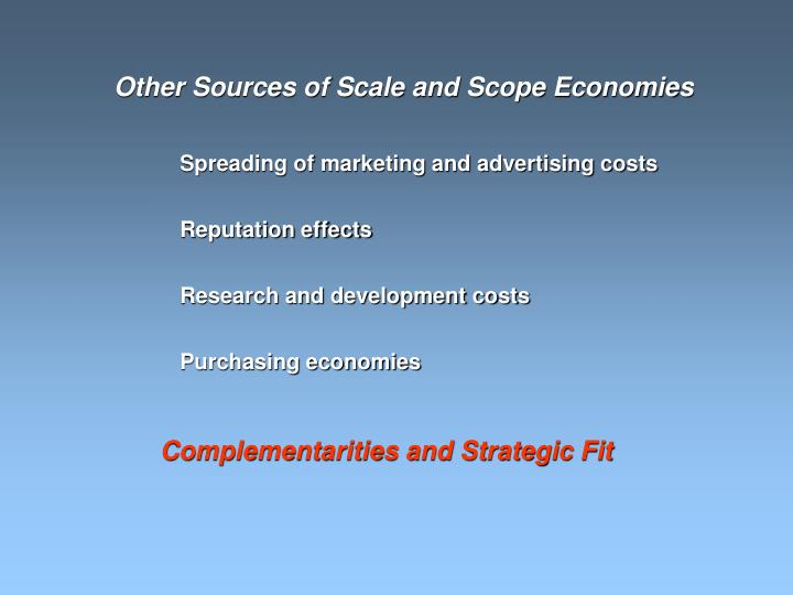 Other Sources of Scale and Scope Economies