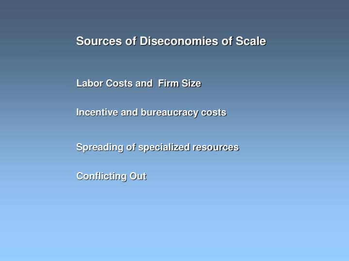 Sources of Diseconomies of Scale