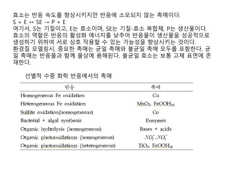 효소는 반응 속도를 향상시키지만 반응에 소모되지 않는 촉매이다