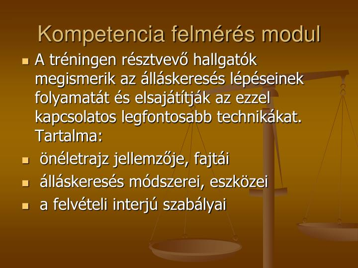 Kompetencia felmérés modul