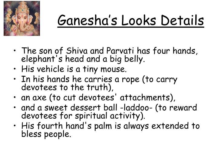 Ganesha's Looks Details