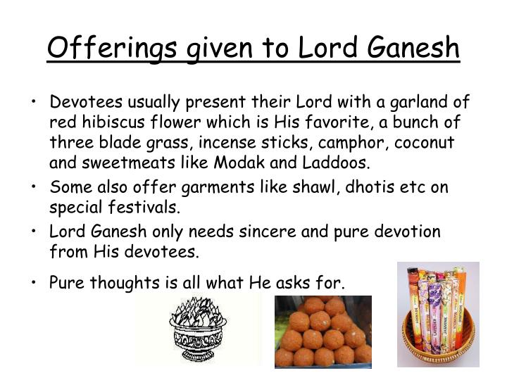 Offerings given to Lord Ganesh