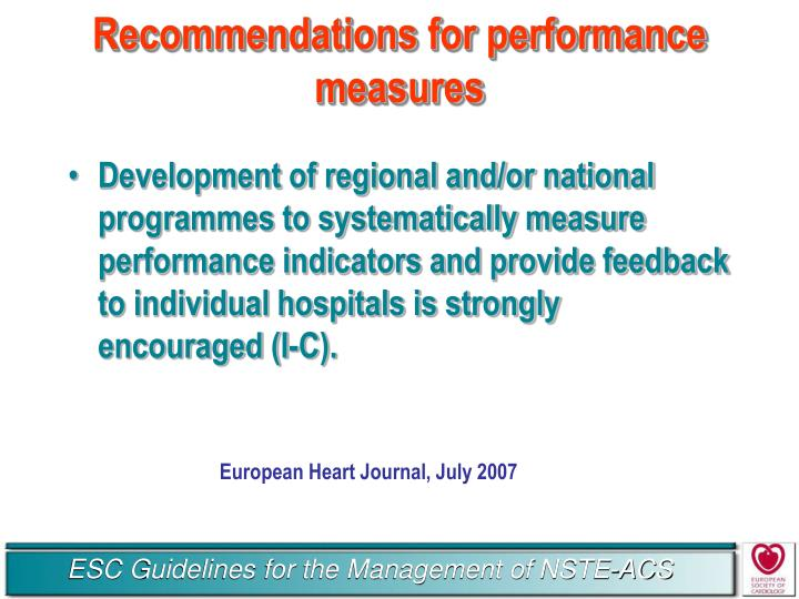 Recommendations for performance measures