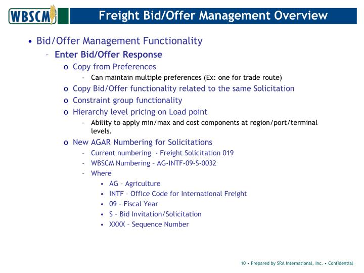 Freight Bid/Offer Management Overview