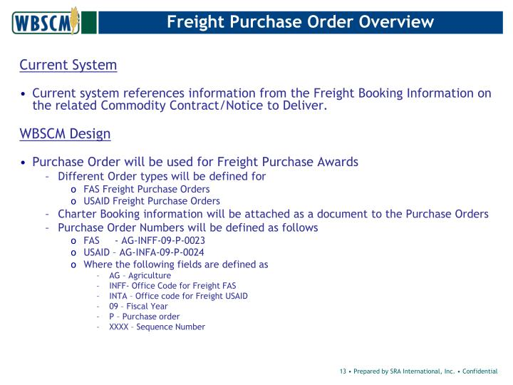 Freight Purchase Order Overview