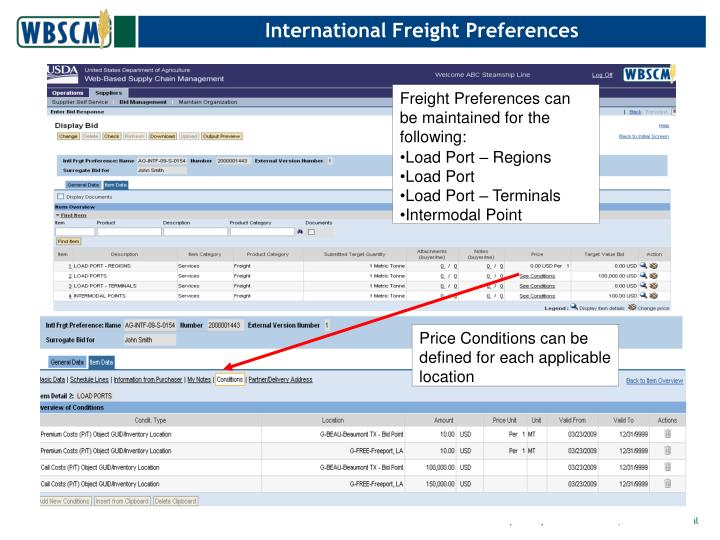 International Freight Preferences
