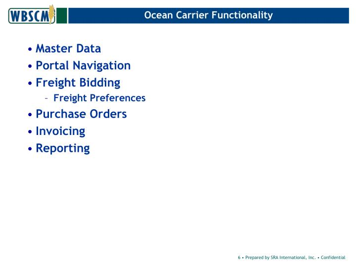 Ocean Carrier Functionality