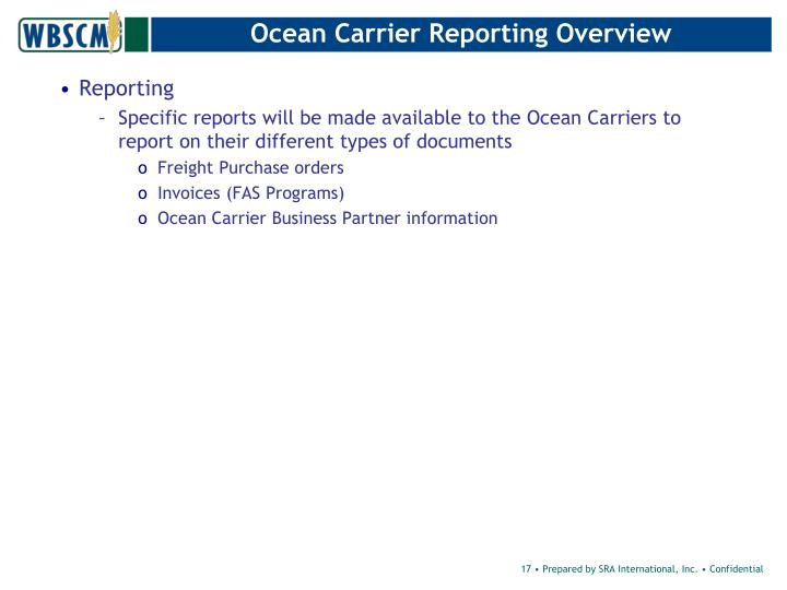 Ocean Carrier Reporting Overview