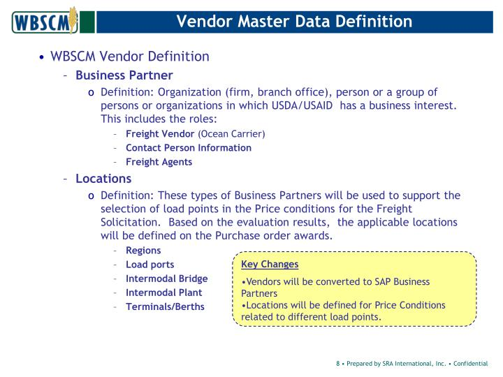 Vendor Master Data Definition