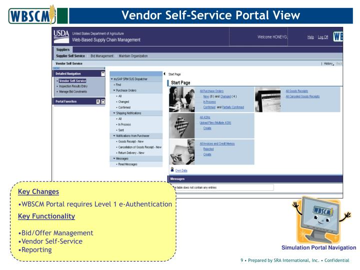 Vendor Self-Service Portal View