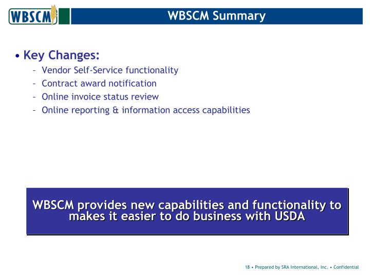 WBSCM Summary