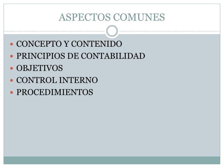 ASPECTOS COMUNES