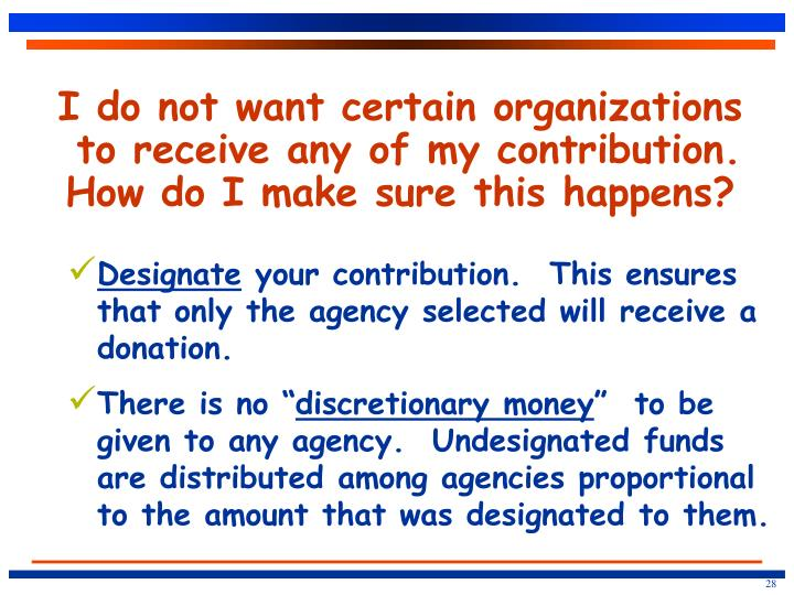 I do not want certain organizations