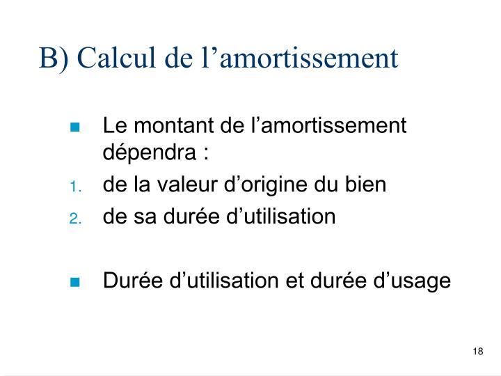 B) Calcul de l'amortissement