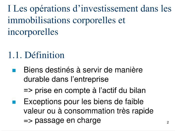 I Les opérations d'investissement dans les immobilisations corporelles et incorporelles