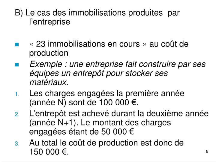 B) Le cas des immobilisations produites  par l'entreprise