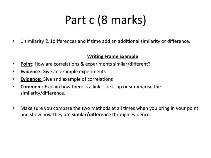 Part c (8 marks)