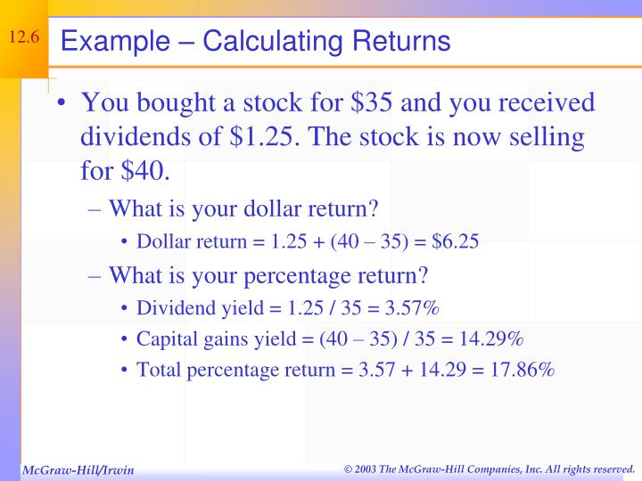 Example – Calculating Returns