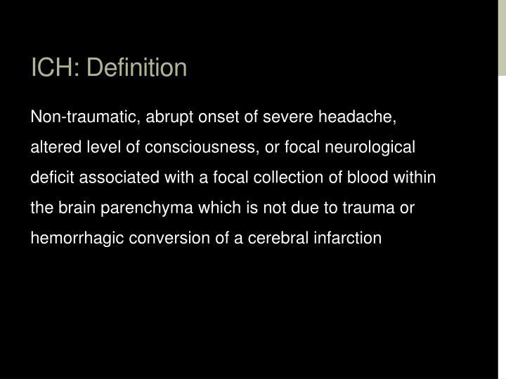 ICH: Definition