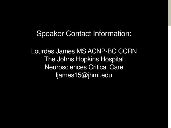 Speaker Contact Information: