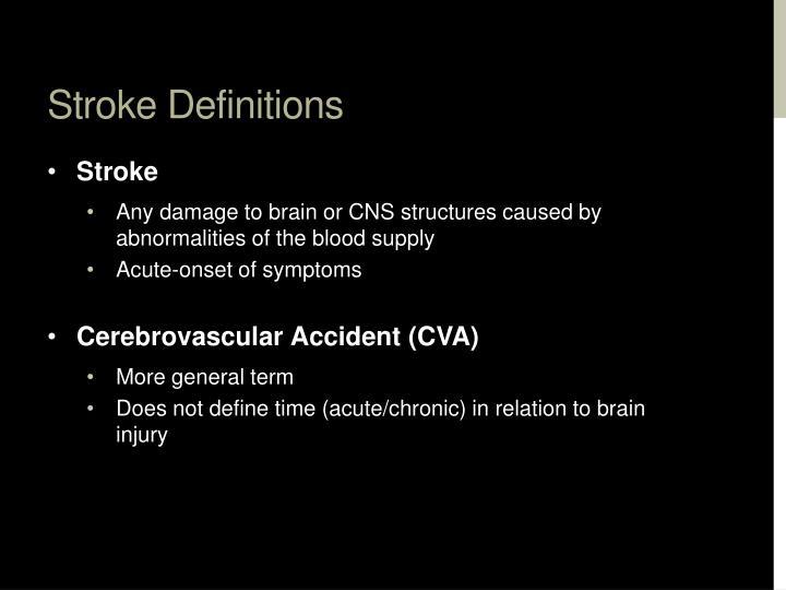 Stroke Definitions