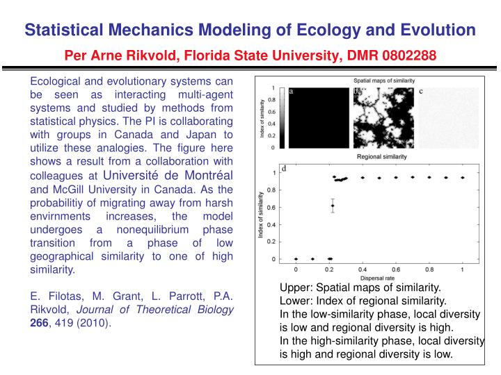 Statistical Mechanics Modeling of Ecology and Evolution
