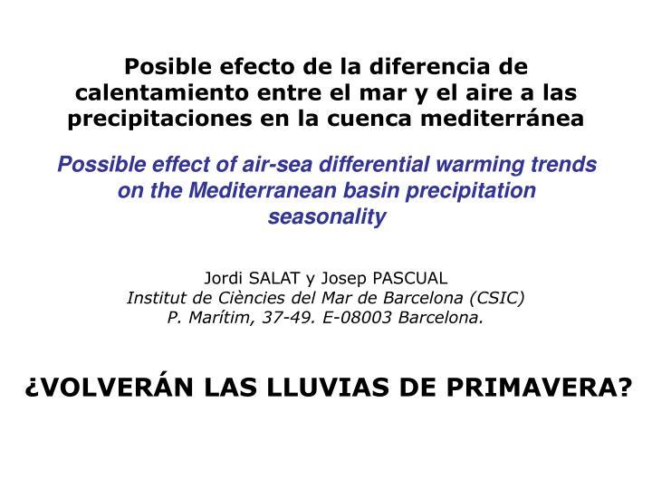 Posible efecto de la diferencia de calentamiento entre el mar y el aire a las precipitaciones en la cuenca mediterránea