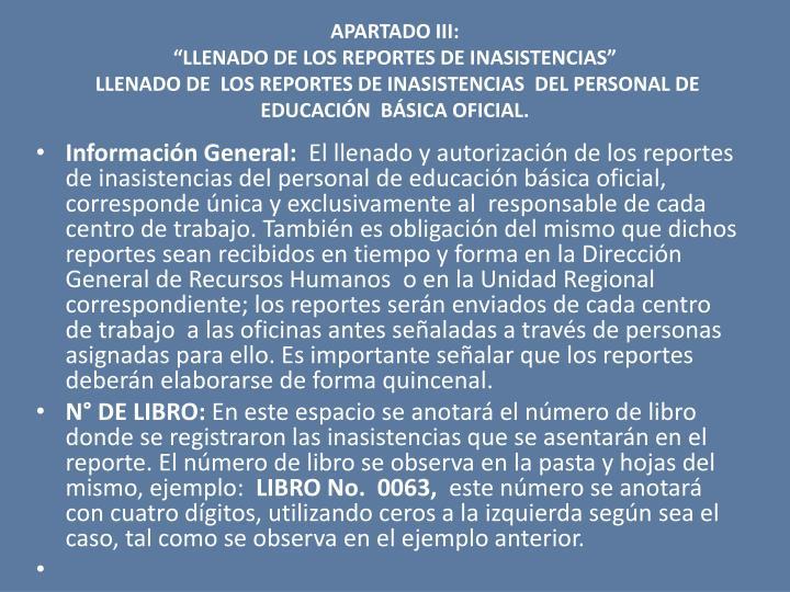 APARTADO III:
