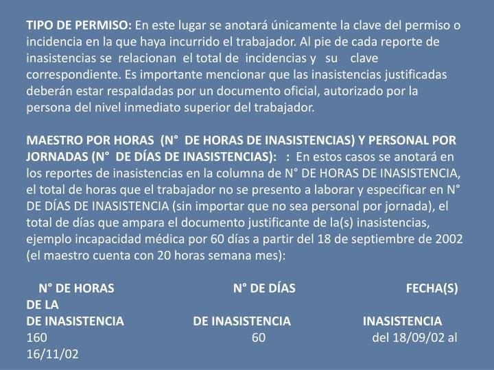 TIPO DE PERMISO: