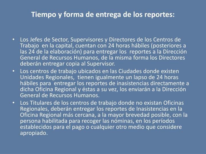 Tiempo y forma de entrega de los reportes: