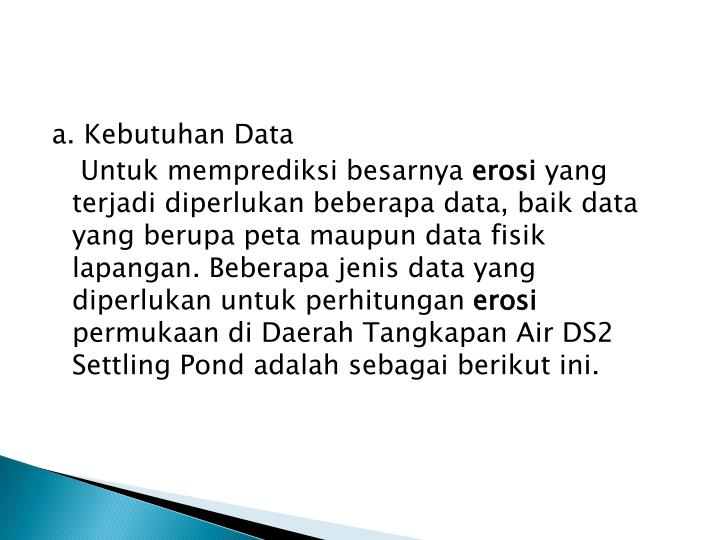 a. Kebutuhan Data