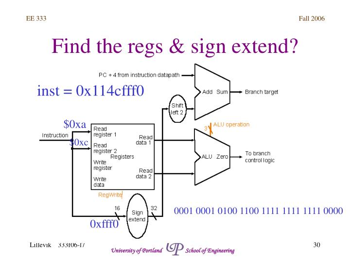 Find the regs & sign extend?
