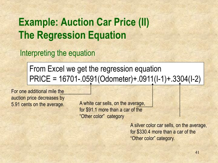 Example: Auction Car Price (II)