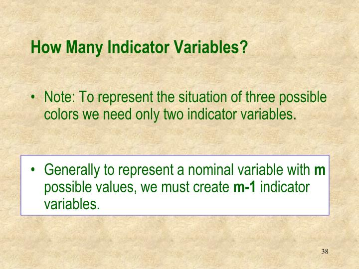 How Many Indicator Variables?