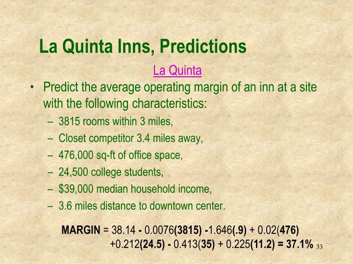 La Quinta Inns, Predictions