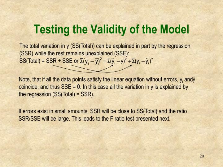 Testing the Validity of the Model